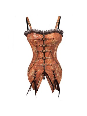 Steampunk Gothic Brown Premium Brocade Overbust Corset with Strap CF8035_01