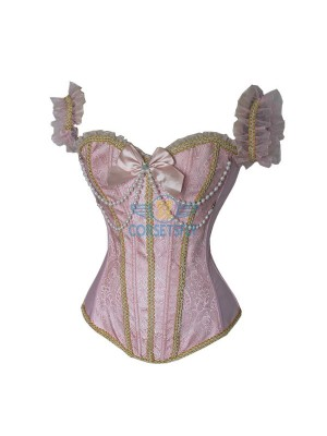 Stylish Sexy Pearl Chain Bowknot Embelishment Pink Corset with Ruffle Sleeves CF5113 Pink