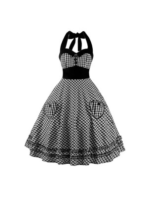 Sweetheart Neckline Rockabilly Sleeveless A-line Swing 1950s Bowknot Dress CF1242