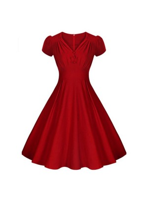 Women 1950s Swing Rockabillty V-Neck Short Sleeve Cocktail Dress CF1381