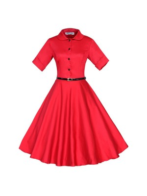 Unique Retro Collar Rockabilly Vintage Short Sleeve Swing Dress with Belt CF1259 Red_01
