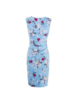 V-Neck Rockabilly 1950s Floral Print Bodycon Vintage Blue Evening Party Dress CF1278