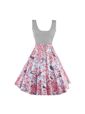 Vibrant Print Scoop Neck with Straps Rockabilly Vintage Swing Party Dress CF1271