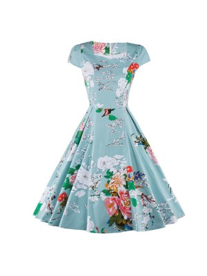 Vintage Floral Print Cap-sleeve Rockabilly Classy Light Blue Swing Dress CF1269