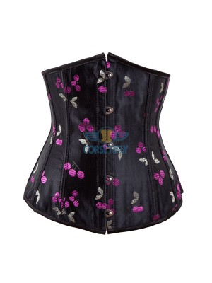 Vintage Goth Retro Strapless Corset with Floral Cherry Design Pattern CF7520