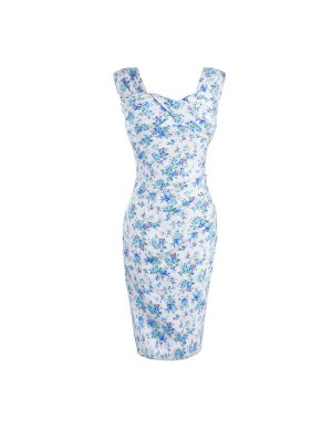 Vintage Pleated Bodice Rockabilly Blue Floral Print Bodycon Pencil Dress CF1257_01
