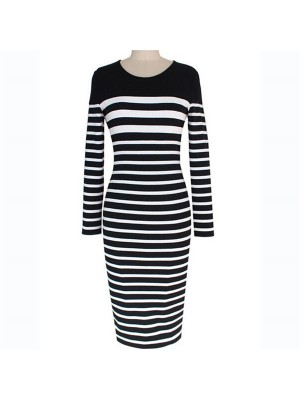 Vintage Retro Round Neck Striped Long Sleeve Sheath Midi Dresses CF1638 Black_01