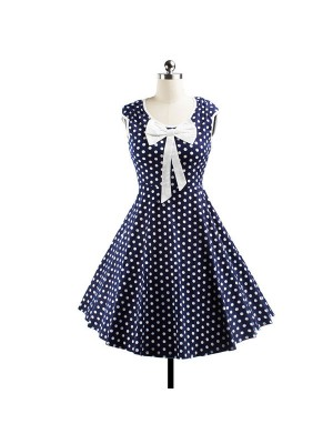 Vintage Sleeveless Polka Dot Bowknot Garden Party Rockabilly Swing Dress CF1234 Navy_01