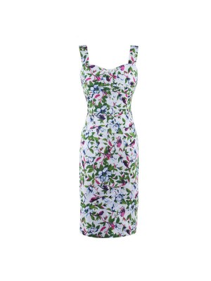 Vintage Sweetheart Neck with Straps Floral Rockabilly Bodycon Pencil Dress CF1263