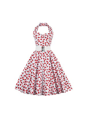 Voguish Cheery Halter Sweetheart Neckline Vintage Picnic Rockabilly Swing Dress CF1440 Cheery_01