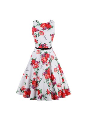 Women 1950s Floral Vintage Sleeveless Garden With Belt Plus Size Dress CF1376