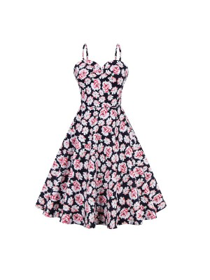 Women 1950s Floral Rockabillty Gown Pinup Ball Plus Size Dress CF1373