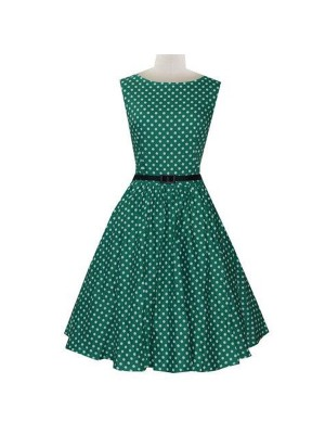 Women 1950s Dot Party Picnic With Belt Plus Size Dress CF1371