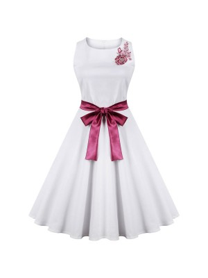 Women 1950s Floral Rockabillty Party With Belt Plus Size Dress CF1375