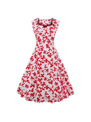 Women 1950s Floral Rockabillty Sleeveless Picnic Plus Size Dress CF1377
