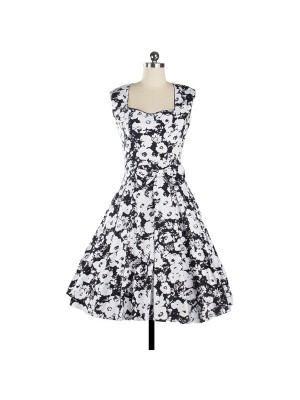 Women 1950s Floral Rockabilly Swing Vintage Cap Sleeve Evening Dress CF1208