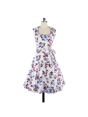 Women 1950s Floral Swing Vintage Cap Sleeve Casual Retro Party Dress CF1205