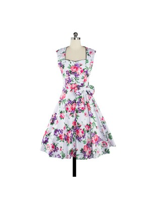 Women 1950s Floral Swing Vintage Retro Pinup Picnic Dress CF1206