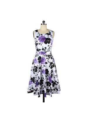 Women 1950s Floral Swing Vintage Retro Housewife Rockabilly Evening DressCF1223