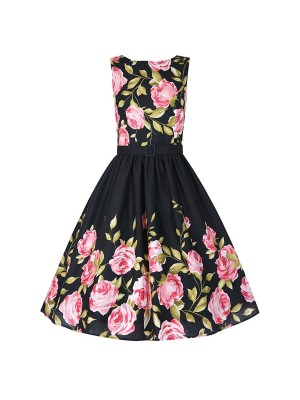 Women 1950s Floral Vintage Picnic With Belt Plus Size Dress CF1367