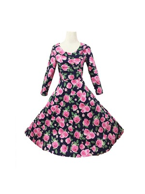 Women 1950s Retro Floral Rockabillty Long Sleeve Garden Dress CF1411
