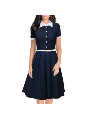 Women 1950s Short Sleeve Collar Ball With Belt Plus Size Dress CF1370