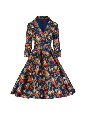 Women 1950s Swing Floral Vintage Pinup With Belt Cocktail Picnic Dress CF1412