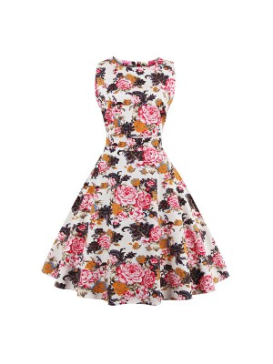 Women 1950s Swing Floral Vintage Sleeveless Garden Plus Size Dress CF1378