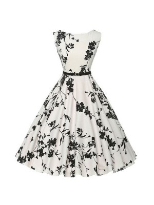 Women 1950s Swing Floral Vintage Tea Garden Ball Plus Size Dress CF1372