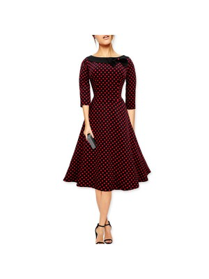 Women 1950s Swing Retro Dots Rockabillty Pinup Tea Cocktail Dress CF1407