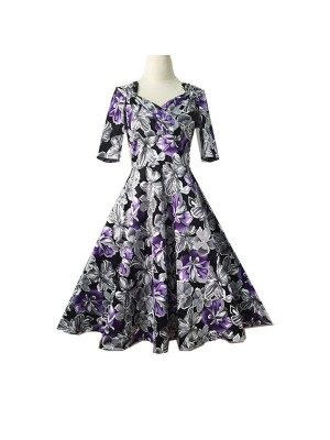 Women 1950s Swing Retro Floral Gown Pinup Tea Party Picnic Dress CF1409