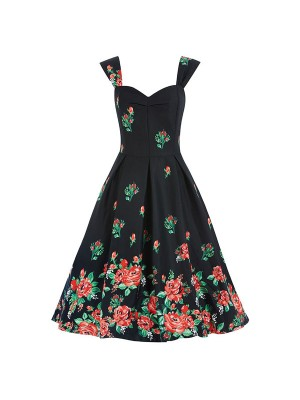 Women 1950s Swing Retro Floral Picnic Party Plus Size Dress CF1366