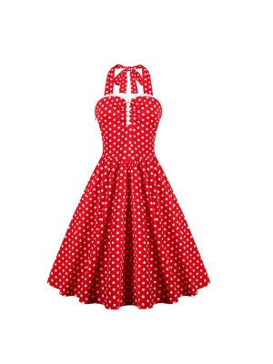 Women 1950s Swing Retro Hater Dots Rockabillty Sleeveless Cocktail Ball Dress CF1426 red white dots
