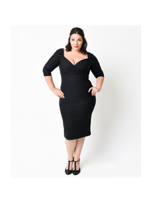 Women 1950s Swing Short Sleeve Garden Plus Size Pencil Dress CF1356
