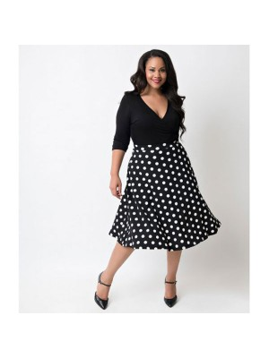 Women 1950s Swing Short Sleeve Tea Party Plus Size Dress CF1353