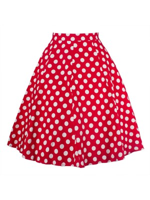 Women 50s Rockabilly Pleated Vintage Skirts Polka Dots Midi Skirt red dots