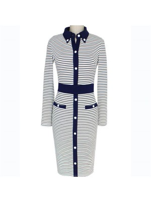 Women's Elegant Striped Lapel Collar Long Sleeve Bodycon Sheath Dresses CF1633