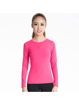 Women's Long Sleeve Dry Fit Athletic Compression Shirt CF2236 rose