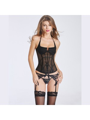 Women's Sexy Transparent Corset Bustier With Back Hook Eye Closure CF6017