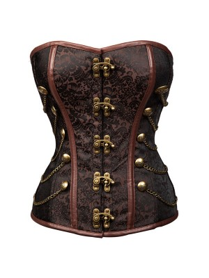 Women's Steampunk Overbust Lace Up Brocade Steel Boned Corset with Chains CF8094 Brown_01