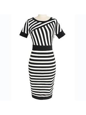 Women's Vintage Striped Scoop Neck Short Sleeve Sheath Midi Dresses CF1608_01