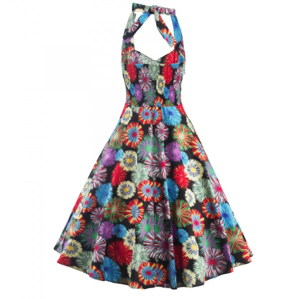 1950s Multi Floral Print Halter V-Neck Rockabilly Vintage Swing Dress CF1260_04