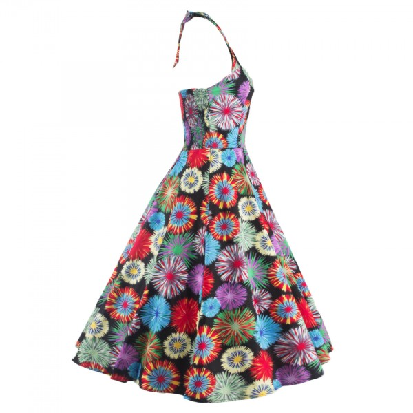 1950s Multi Floral Print Halter V-Neck Rockabilly Vintage Swing Dress CF1260_10