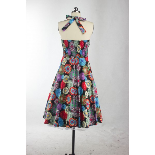 1950s Multi Floral Print Halter V-Neck Rockabilly Vintage Swing Dress CF1260_03