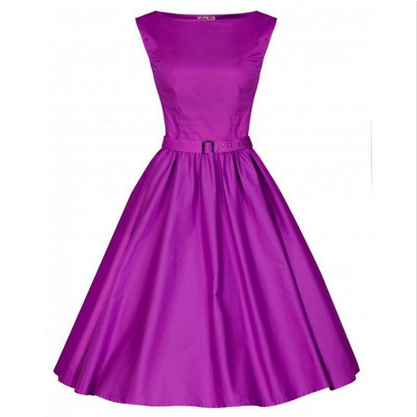 1950s Retro Vintage Sleeveless Party Swing Dresses with Belt CF1212 Purple