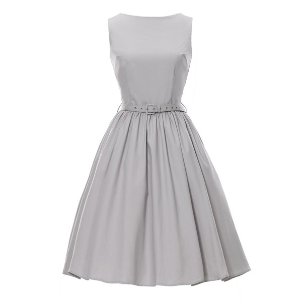 1950s Retro Vintage Sleeveless Party Swing Dresses with Belt CF1212 gray