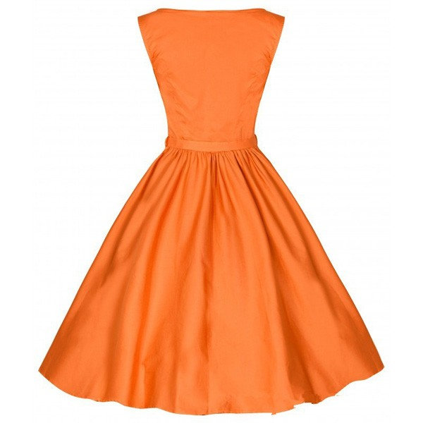 1950s Retro Vintage Sleeveless Party Swing Dresses with Belt CF1212 orange_01