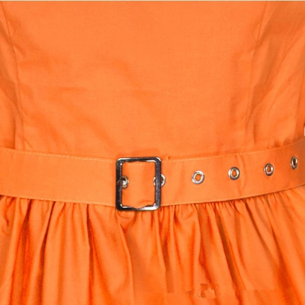 1950s Retro Vintage Sleeveless Party Swing Dresses with Belt CF1212 orange_02