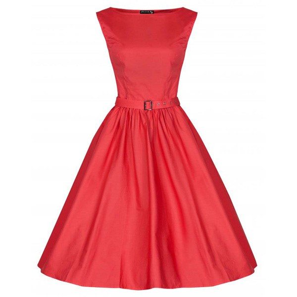 1950s Retro Vintage Sleeveless Party Swing Dresses with Belt CF1212 red