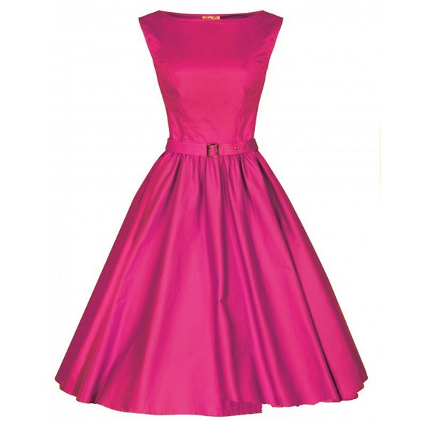 1950s Retro Vintage Sleeveless Party Swing Dresses with Belt CF1212 rose red